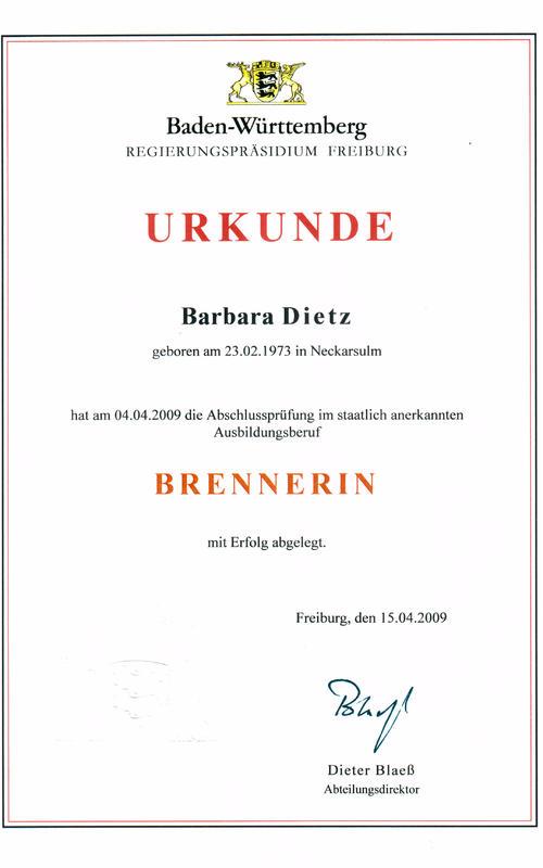 Urkunde Brennerin